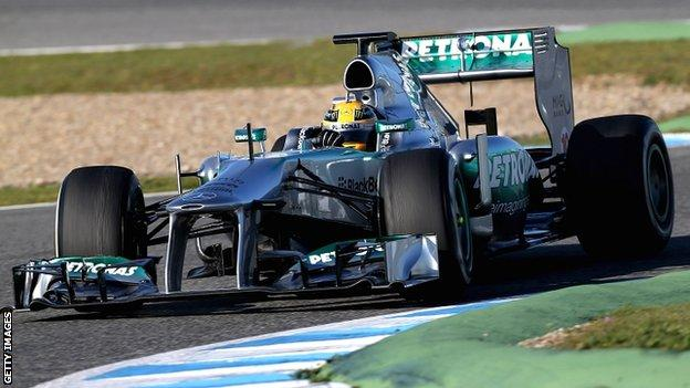 Lewis Hamilton in the new Mercedes