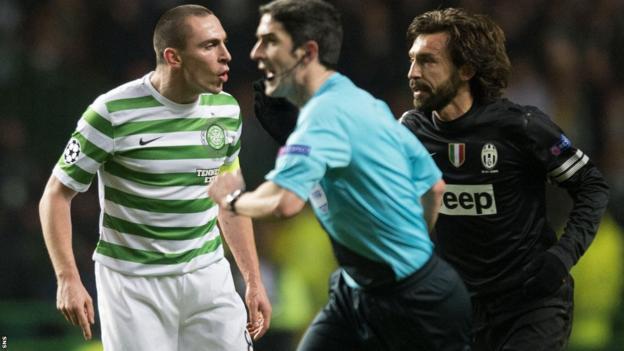 Celtic captain Scott Brown and Juve skipper Andrea Pirlo