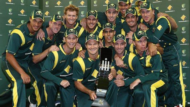 Australia with the one-day series trophy