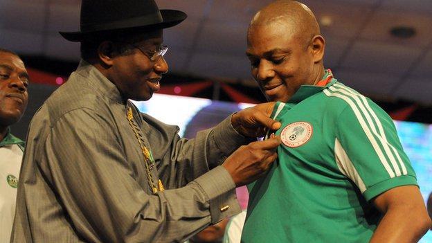 Nigeria President Goodluck Jonathan and Nigeria nations football coach Stephen Keshi