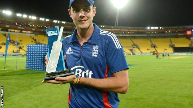 England captain Stuart Broad displays the Twenty20 trophy