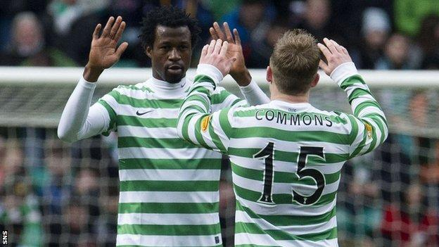 Celtic players Efe Ambrose and Kris Commons