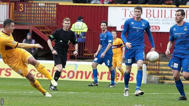 Inverness were beaten 3-0 at Motherwell