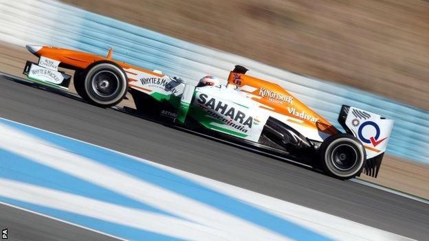 Force India's Paul Di Resta during testing at Circuito de Jerez