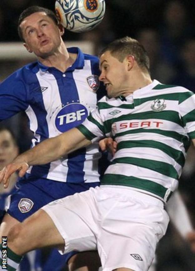 Coleraine's Ruairi Harkin in action against Shane Robinson of Shamrock Rovers