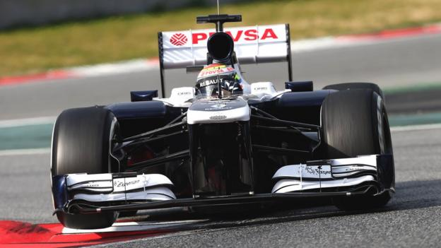 The Williams FW35 car in testing at the Circuit de Catalunya