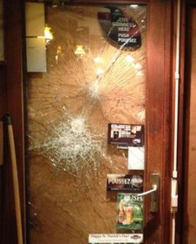 Damage to pub door