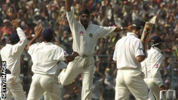Harbhajan Singh dismisses Ricky Ponting during the 2001 series