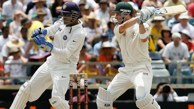 Mahendra Dhoni and Michael Clarke from the 2008 series