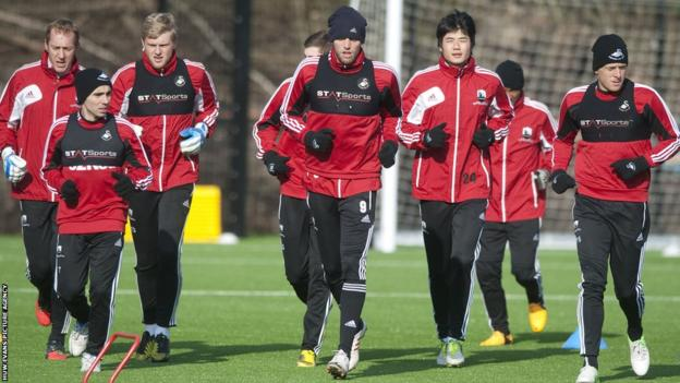 Swansea players train ahead of Sunday's Capital One Cup final against Bradford City at Wembley Stadium