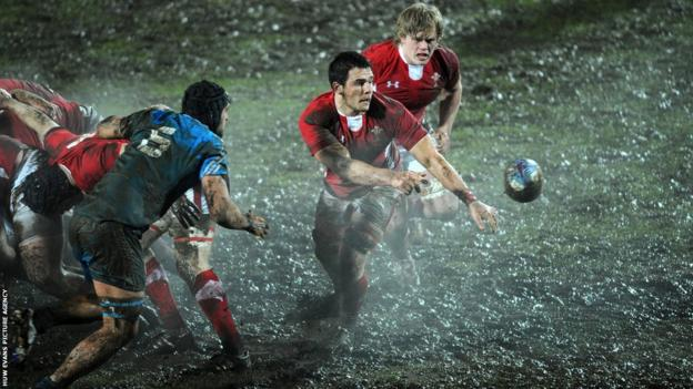 Wales Under-20 captain gets the ball away against Italy Under-20 in their Six Nations clash at Viterbo