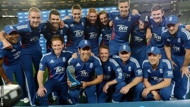 England celebrate their one-day series win