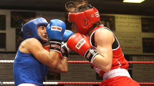 Ireland's Katie Taylor (right) attacks during her victory over Karolina Graczyk in Dublin