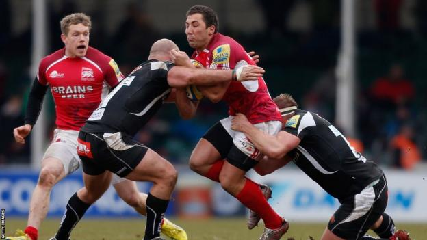 Gavin Henson is halted as London Welsh lose 47-16 at Exeter in the Aviva Premiership at Sandy Park