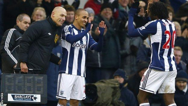 West Brom striker Peter Odemwingie comes on for Romelu Lukaku against Sunderland