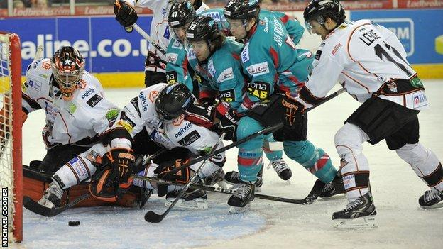 Mark Garside scores the opening goal against Sheffield on Saturday night