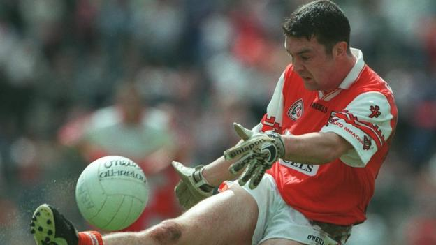 Oisin McConville quickly made an impact at inter-county level - here in 1998 Ulster Championship action against Derry