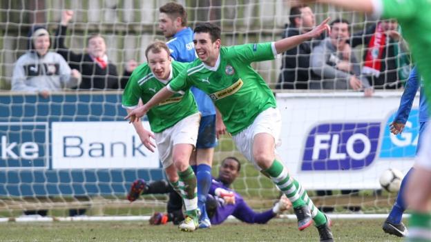 Joe Gormley celebrates after his superb strike gave leaders Cliftonville a 1-0 win away to Ballinamallard United