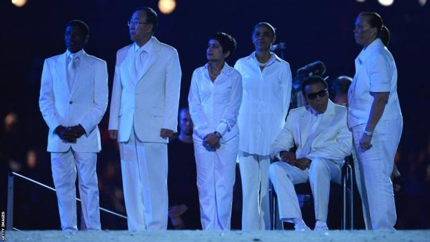 Muhammad Ali (second right) attends the opening ceremony of the London 2012 Olympics alongside the likes of UN Secretary General Ban Ki-moon and distance runner Haile Gebrselassie