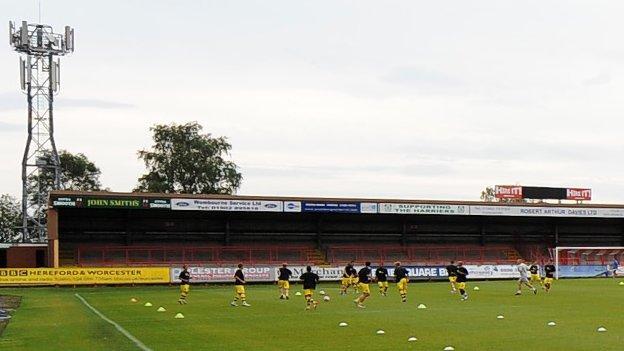 The away terrace at Aggborough