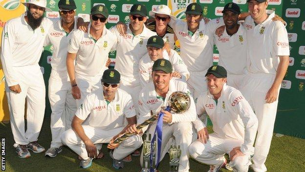 South Africa with the Test series trophies