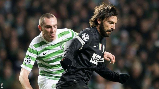 Celtic skipper Scott Brown in action against Juventus