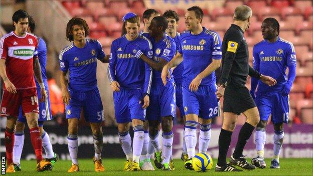Chelsea celebrate the first goal at Middlesbrough