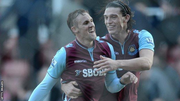 West Ham midfielder Jack Collison (left) and striker Andy Carroll