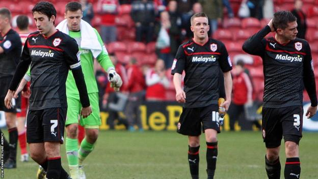 The Bluebirds are beaten 2-1 at Middlesbrough and show their dejection after the final whistle