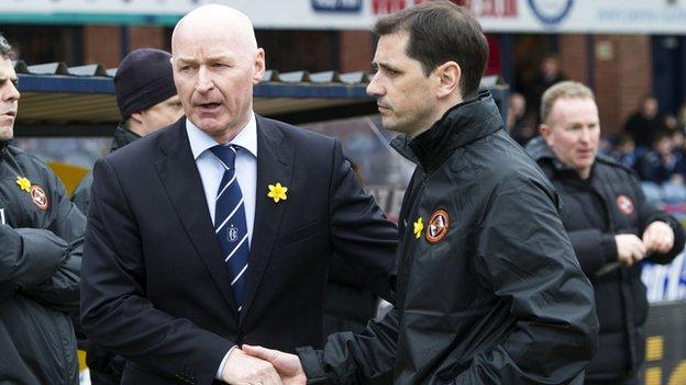 Dundee manager John Brown and Dundee United boss Jackie McNamara