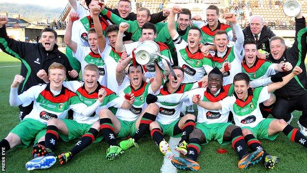 Glentoran II celebrated winning the Steel and Sons Cuop
