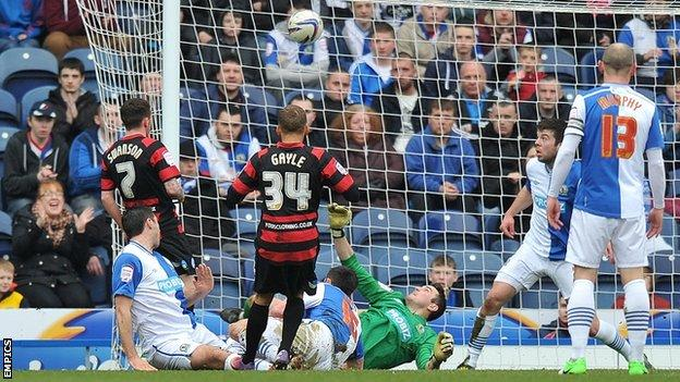 Dwight Gayle scores against Blackburn Rovers