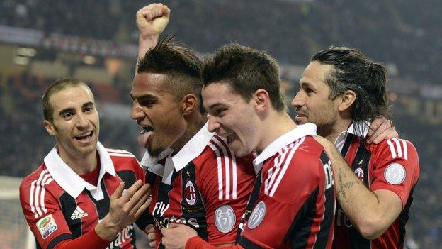 Kevin-Prince Boateng (second from left) celebrates after scoring