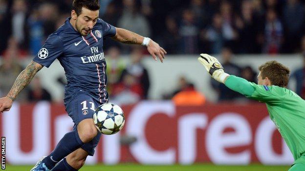 Parsi St-Germain's Ezequiel Lavezzi