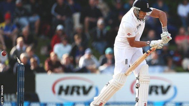Nick Compton is bowled by Tim Southee without scoring