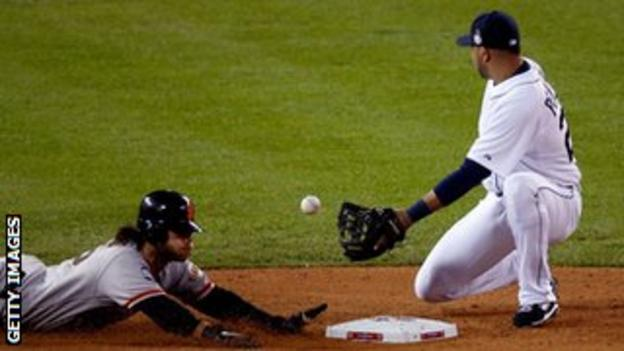 San Francisco Giants' Fernando Crawford steals second base against Jhonny Peralta of the Detroit Tigers