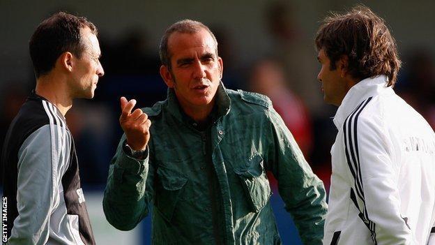 Former Swindon manager Paolo di Canio (centre) with assistants Claudio Dantelli (left) and Fabrizio Piccareta (right)