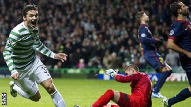 Celtic's Tony Watt scores against Barcelona