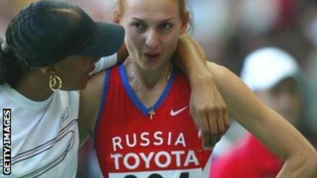 Jade Johnson and Tatyana Kotova at the 2003 world championships