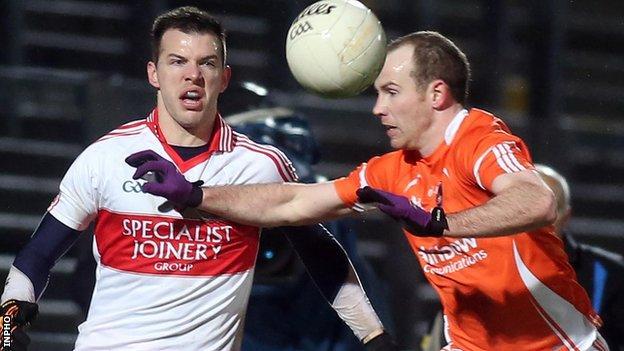 Derry's PJ McCloskey challenges James Lavery