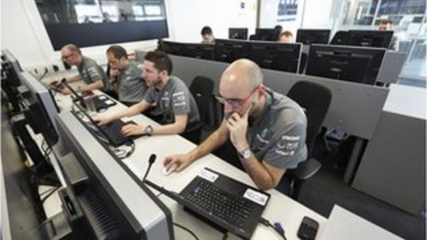 Mercedes' simulator control centre