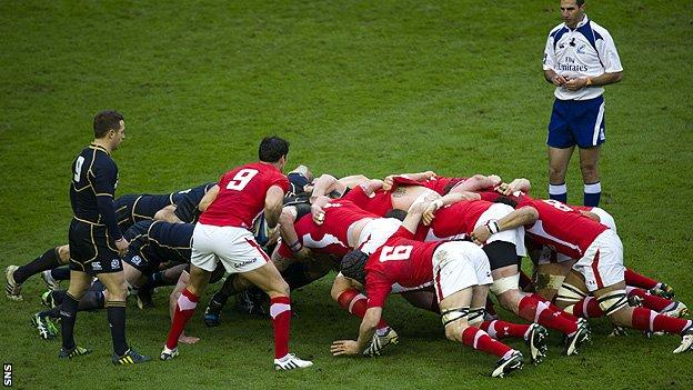 Scotland v Wales scrum