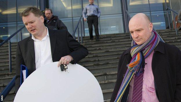 Dundee Utd Chairman Stephen Thompson (right) leaves Hampden after a lengthy SPL meeting