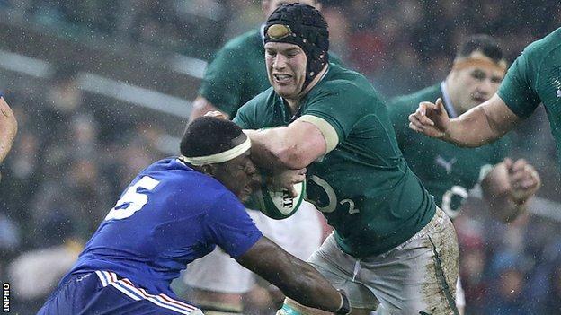 Sean O'Brien tries to barge past France's Yannick Nyanga last weekend