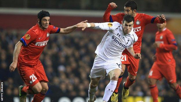 Christian Chivu and Gareth Bale