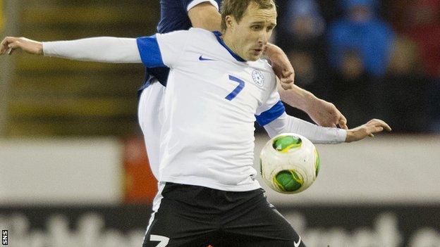 Sander Puri played for Estonia against Scotland in February