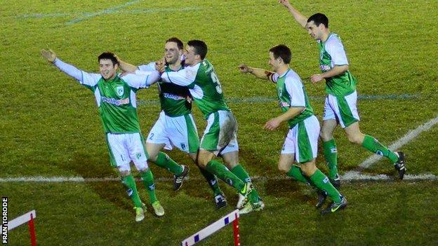 Guernsey FC celebrate making the FA Vase semi-finals