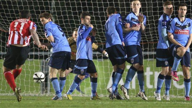 Rory Patterson scores his third goal against UCD
