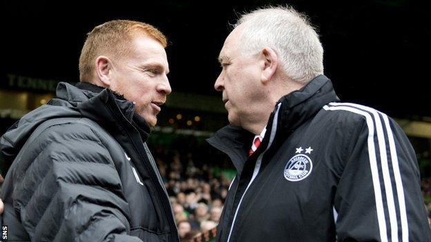 Aberdeen manager Craig Brown and Celtic manager Neil Lennon