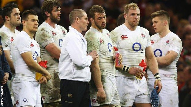 Stuart Lancaster (fourth right) and England